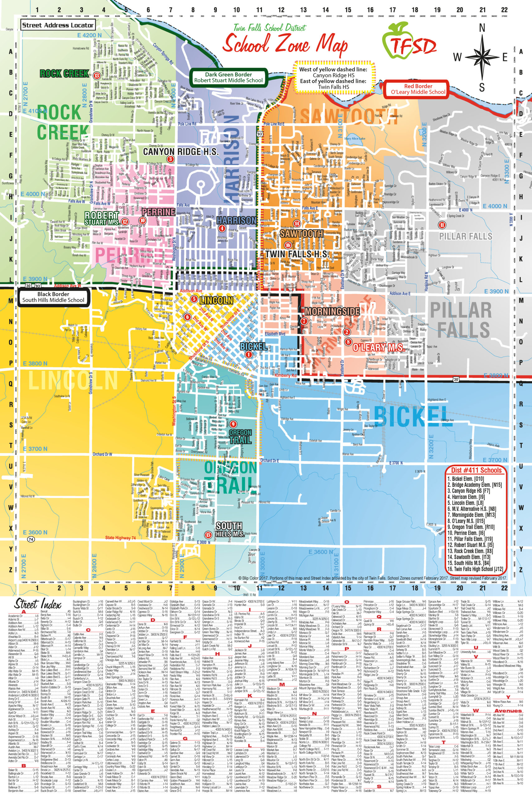 Map: Twin Falls School District Zones
